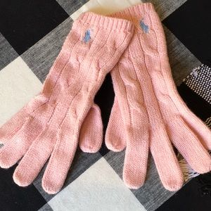 NWOT Ralph Lauren pink cotton/wool gloves